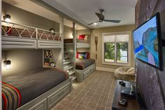 bunk beds for teens Kids Rustic with built-in storage bunk beds ceiling fan gray carpet kids