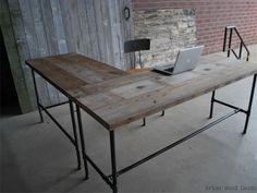 LOVE! Custom Made Industry Desk... Looks like @Heather Creswell Ricklefs dining room table she had custom made!