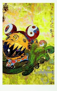 "This Takashi Murakami painting demonstrate his ""Superflat"" manifesto. A style of painting that marries traditional Japanese painting techniques with present day anime. Japanese Art Modern, Japanese Artists, Traditional Japanese, Superflat, Takashi Murakami, Lowbrow Art, Japan Art, Sculpture, Cute Art"