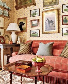 A Red Sofa Puts Just The Right Amount Of Color Into This Otherwise Neutral English  Cottage Style Room.