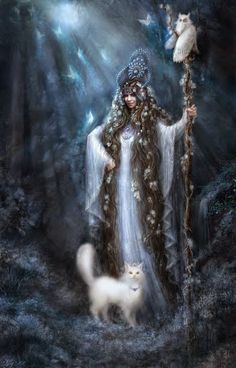 The Slavic goddess the Wise Villa traditionally is more known as Vasilisa the Wise. She is magician, who Masters woods and waters, defends nature. (Art by Alena Klementeva) Potnia Theron, Celtic Mythology, Celtic Goddess Names, Goddess Art, Black Goddess, Moon Goddess, Fantasy Illustration, Portrait Illustration, Gods And Goddesses