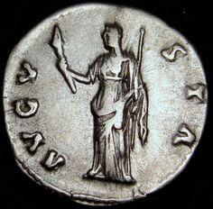 DIVA FAUSTINA I. Exceptional silver ar denarius Rare Roman coin Priceless.