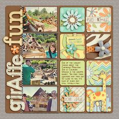 Oh, giraffes! Layout of rounded squares  Use photos of stuffed animals & baby toys -nice if there was a theme.