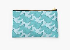 California Surf Wave Pattern Illustration by Gordon White   California Surf Small Studio Pouch Available @redbubble --------------------------- #redbubble #stickers #california #losangeles #la #surf #wave #cute #adorable #pattern #studiopouch #pouch #bag