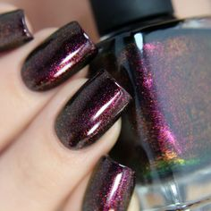 Lights Out – Rich Black Shimmer Nail Polish by ILNP - Der Modischste Nagellack Nail Art Designs, Acrylic Nail Designs, Design Art, Design Ideas, Shellac, Gel Nails, Nail Polishes, Gorgeous Nails, Pretty Nails