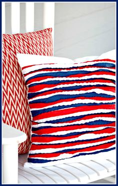 Pillow of the Month- Double Ruffle Ribbon Pillow Tutorial - Redo Mom.  If you can sew a straight line you can make thus cute pillow.  This is one 4th of July colors red white and blue, but you can do any colors you want