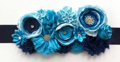 Maternity sash/ blue maternity sash/ by JosieJosHeadbands on Etsy, $27.99