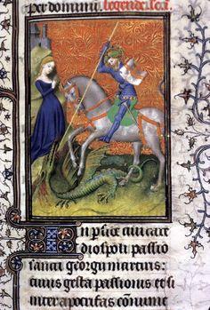 São Jorge matando o dragão Iluminura em manuscrito Biblioteca Britânica