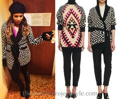 Mindy's black and white checkerboard cardigan is most definitely party in the back print-wise. Mara Hoffman Belt-Tie Cardigan - $220