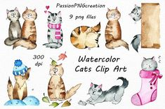 Watercolor Cats Clipart watercolor kitty clip art 9 PNG