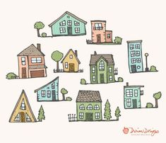 Cute houses clipart commercial use, homes pastel trees neighborhood fences yards hand drawn doodle i House Colouring Pages, Coloring Pages, Cartoon Drawings, Cute Drawings, Cartoon Leaf, House Doodle, House Clipart, Cartoon House, Building Drawing