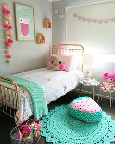 Turquoise Room Ideas - Turquoise it could be vibrant and strong, it's also comforting and also relaxing.Here are of the very best turquoise room interior decoration ideas. Big Girl Bedrooms, Little Girl Rooms, Modern Girls Rooms, Dream Rooms, Dream Bedroom, Master Bedroom, Room Inspiration, Baby Room, Kitchen Rack