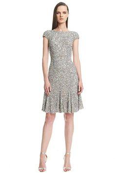 Theia Cap Sleeve Crunchy Sequin Dress