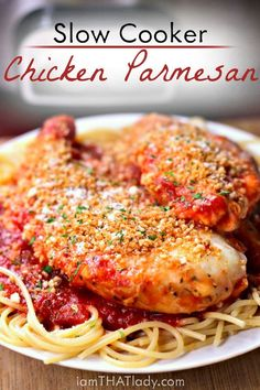 This Crockpot Chicken Parmesan recipe is seriously TO DIE FOR! I never thought I would eat one I liked.  Tastes just like the real deal!