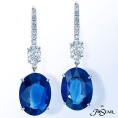 JB Star Blue sapphire and diamond earrings featuring two certified Sri Lanka oval sapphires, 16.41 ctw, suspended from two oval diamonds.