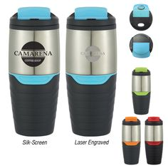 Your customers will flip over this 16 oz. stainless steel tumbler with a flip lock lid! Made with double wall construction for insulation of hot or cold liquids, this tumbler features a convenient spill-resistant flip open lid, plastic liner, and a rubber grip. Meeting FDA requirements and BPA free, your logo or company name will stand out on the stylish travel mug. Choose this eye-catching cup as your next giveaway at tradeshows or conventions!