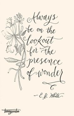 """Always be on the lookout for the presence of wonder.""  - E.B. White"