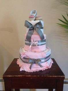 Simple  #diapercake #diapers #itsagirl #babyshower #baby #pink & #grey