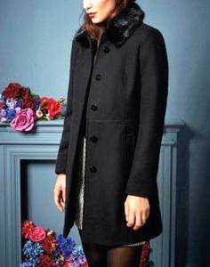 4dccfb50a93e Oasis Black Sophia Wool Slim Winter Fur Collar Trench Jacket Coat Xs 8 - L  14. Celebrity Fashion Store