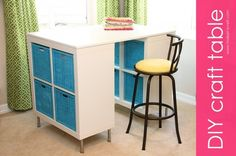 DIY Counter Height Craft Table: SUPER Easy To Make & SUPER Organized! What a great idea!
