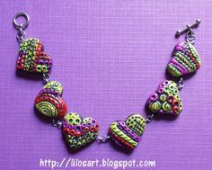 Polymer clay Bracelet - Pulsera con textura  #clay #handmade #bracelet #polymerclay #jewelry #pulcera #handcraft #hearts