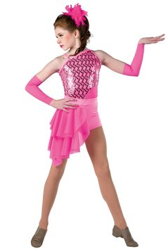 Style#  17214 APPLAUSE  Hot pink spandex short unitard with sequin on mesh overlay and mesh insert. Separate matching side skirt. Spandex binding strap and trim. Headpiece and mitts included. SC-XXLA