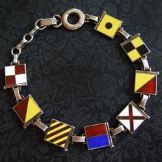 Vintage 'I Love You' Nautical Flags Sterling Silver Bracelet