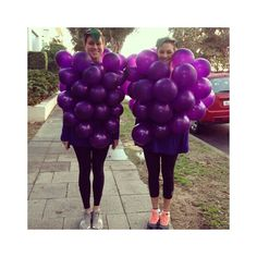 Grape costume for Halloween- green balloons for vince and green for meh