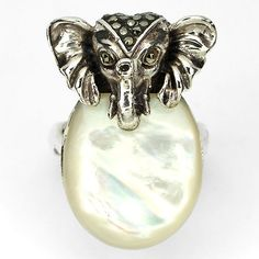SIZE 7 ELEPHANT LOVE NATURAL MOTHER OF PEARL MARCASITE STERLING 925 SILVER RING #SolitairewithAccents