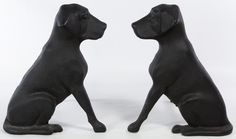 """Lot 128: Cast Iron Dog Andirons; Pair, 20th Century, labeled """"Liberty, FDY"""" on the backs"""