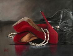 Some Enchanted Evening, Red Shoe series by Jacqui Faye, painting by jacqui faye