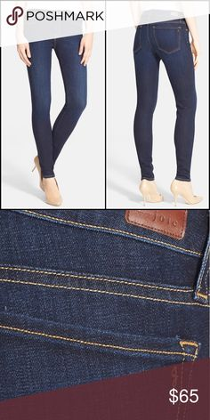 """Joie Mid Rise Skinny Jeans Bright top stitching and dark, gently faded wash give a clean, versatile look to a pair of stretchy skinny jeans cut with a flawless-second skin fit, size 29, 9"""" front rise, 29"""" inseam, zip fly with button closure, five pocket, 65% cotton, 33% tencel, 2% elastane, made in the USA, (13 Joie Jeans Skinny"""