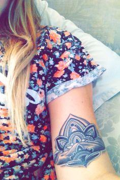my new lotus flower tattoo, with mountain range #tattoo #lotusflower #ink