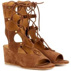 Chloé Foster Suede Gladiator Wedge Sandals (€770) ❤ liked on Polyvore featuring shoes, sandals, brown, brown shoes, wedge heel gladiator sandals, suede sandals, suede wedge sandals and suede shoes