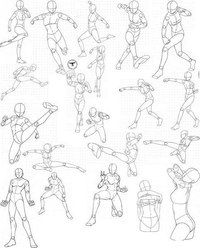 Virgin Bodies by FVSJ on deviantART. >> Action pose reference sheet for anime/manga characters. Action Pose Reference, Anime Poses Reference, Action Poses, Human Figure Drawing, Figure Drawing Reference, Drawing Body Poses, Drawing Skills, Drawing Tips, Character Poses