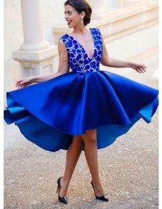 Knee Length V Neck Lace Bodice Ball Gown Royal Blue Satin Prom Dress