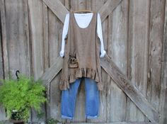 linen tunic jumper pinafore smock in brown stripe by linenclothing