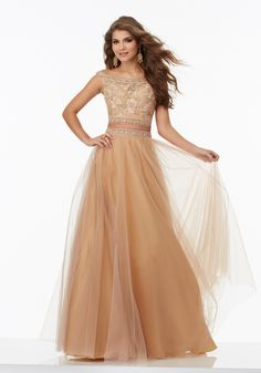 Two-Piece Prom Dress with Floral Embroidered Off-the-Shoulder Bodice and Flowy Net Skirt. Skirt Accented with Beaded Waistline. Colors Available: Blush, Sage, CafŽ.