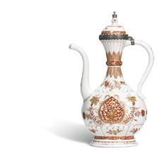 A rare silver-mounted ewer and cover for the Islamic market, the porcelain Qing dynasty, Kangxi period