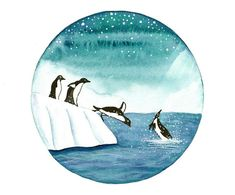 Original watercolor painting Penguins jumping by bluepalette
