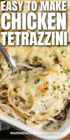 Chicken Tetrazzini is so easy to make! Pasta mixed with chicken, mushrooms, and peas, then tossed in a creamy sauce, topped with cheese, and baked until golden! #spendwithpenies #chickentetrazzini #recipe #maindish #pasta #casserole Casserole Recipes, Pasta Recipes, Beef Recipes, Chicken Recipes, Pasta Casserole, Dinner Recipes, Cooking Recipes, Recipies, Holiday Recipes