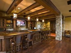 Summers Custom Multi-Width Hickory Flooring at the Pronghorn Club & Resort Clubhouse Hickory Flooring, Gate House, Rustic, Club, Interior Design, Building, Architects, Golf, Bar