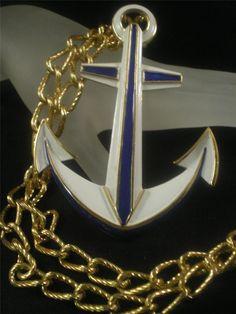 Trifari Nautical Jewelry, White Enamel, Love Heart, Jewelry Design, Blue And White, Anchors, Pendant, Runway, Hearts