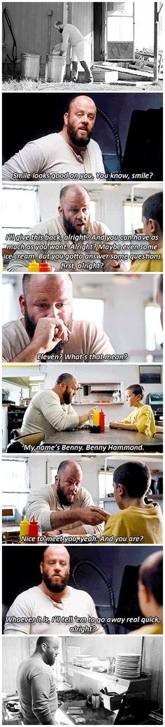 """""""Whoever it is, I'll tell 'em to go away real quick, alright?"""" - Benny and Eleven #StrangerThings ((We'll miss you, Benny))"""
