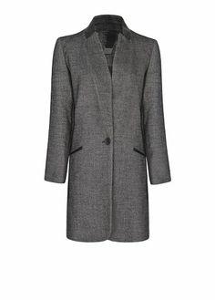 MANGO - Manteau tacheté col cuir