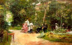 Theodor Aman - In the garden Dolores Park, Paintings, Gardens, Impressionism, Romanticism, Flowers, Kunst, Paint, Painting Art