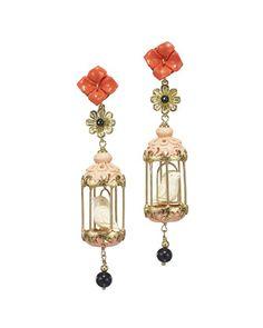 Aviary+Carved+Bone+Drop+Earrings,+Coral/Pink+by+Of+Rare+Origin+at+Bergdorf+Goodman.