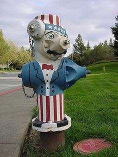Patriotic hydrant in Belmont, San Mateo, California