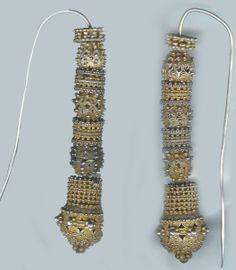 Earrings, gilt silver beads highly reticulated and granulated, Jewish work and worn, Sana Yemen mid 19th c