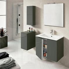 """Royo Onix Vanity: Wall-hung Cabinet and Sink 24"""" Anthracite (Dark Gray). - Mega Supply Store - 1"""